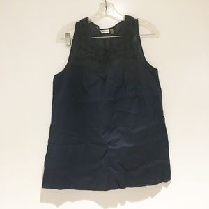 DKNYC navy tank top with embroidering